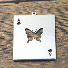 2pcs RUN Butterfly Card Charms silver tone Most Beautiful Moment in Life 48x34mm