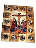 Holy Land Market Crucifixion with Stations of The Cross Icon Plaque All in