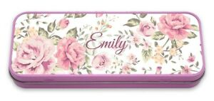Personalised Pencil Tin Floral Pencil Case Flower Pink Name Custom Initials
