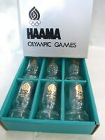 Vintage HAAMA 6 LAGER GLASSES  OLYMPIC GAMES MONTREAL 1976 Crown Corning