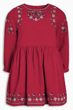 ВNWT NEXT Girls T-Shirt Top • Red Embroidered Tunic • 100% cotton • 3-6 Months