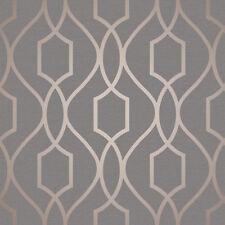 Fine Decor Metallic Geometric Apex Trellis Copper Charcoal Wallpaper FD41998
