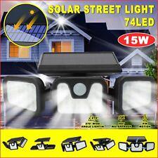 74LED Fluter Solarleuchte Solarlampe mit Bewegungsmelder Außen Garten Strahler