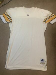 Blank Pittsburgh Steelers Team Issued White Starter Authentic Durene Jersey