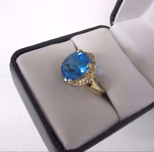 Gorgeous 10K Yellow Gold Huge Natural Swiss Blue Topaz 6 Ct Ring size 7.25