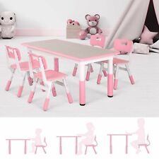 Children Study Dining Table W/4 Chairs Set Adjustable Kids Furniture Best Gift