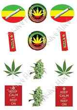 FUMARE Marijuana Pack 12 STAND UP Immagine Torta Commestibile Topper Festa Party
