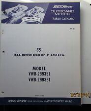 1968 Wards Sea King Outboard Motor 35 Hp Vwb 299351 Vwb 299361 Parts Catalog