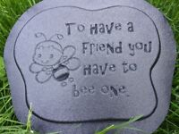 Plastic bee friend plaque mold garden ornament stepping stone mould