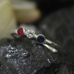 Handmade Hammered Designer Tria Sapphire Zircon Ruby Ring 925 Sterling Silver