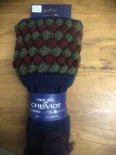 House of Cheviot Men's Shooting Socks, Angus, Navy + matching garters 10.5-12.5