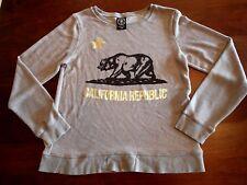 California Republic Gold Bear Womens M Long SleeveThin Cali State Bear Flag Top