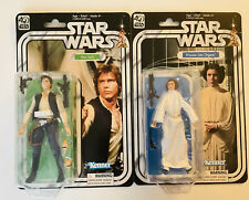 "Star Wars Black Series 40th 6"" figures Princess Leia & Han Solo, NEW"
