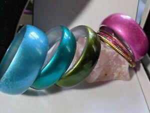 JOBLOT Bangles Bracelets Costume Jewellery Acrylic Lucite Colourful x10
