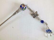 2 giapponese cinese Royal Blue Cloisonne Perline Bacchetta Capelli Stick Pin Partito