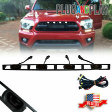 For 2012-15 Toyota Tacoma Smoke Front Hood Grille White LED Light w/Wire Harness