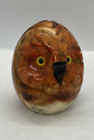 """Carved Stone Owl Figurine 2-1/4"""" Tall / Color Stained Stone"""