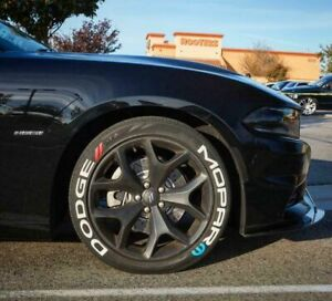Permanent Tire Lettering Stickers DODGE MOPAR 15''16''17'18'19'20 (8 DECAL Kit)