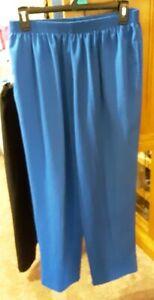 Bonworth, Women's Size L Petite, Bright Blue Pants with Elastic Waist
