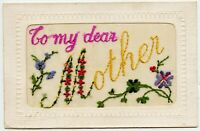 """Embroidered """" To my dear Mother """" Vintage Postcard"""