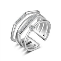 925 Silver CZ Multi layer Finger Rings for Women Wedding Engagement Jewelry Gift