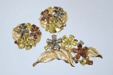 CROWN TRIFARI PIN & EARRING SET DEMI PARURE 3 COLOR RHINESTONES! #173