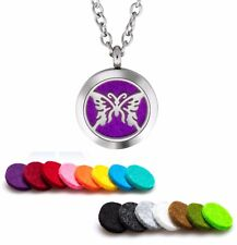 Aromatherapy Essential Oil Diffuser Necklace Pendant Stainless Steel Butterfly 2