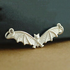 925 Sterling Silver Flying Bat Gothic Feather Wing Halloween Charm Pendant II
