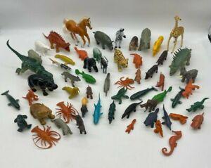 MIXED LOT OF 58 Animal Wildlife Figures PVC Plastic Toy Figures Creative Play