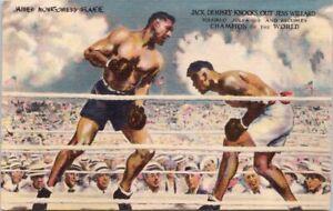 Jack Dempsey Jess Willard Boxing James Montgomery Flagg UNUSED Postcard E50