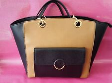 Ladies shoulder bag. NEW LOOK. Caramel and Black. Double carry handles.