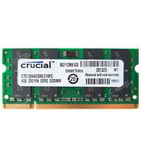 New Crucial 4GB PC2-6400 DDR2-800MHz 200Pin Non-ECC SODIMM Laptop Memory Module