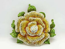EXTRA LARGE XL YELLOW ROSE FLOWER CRYSTAL ENAMEL METAL BROOCH / PIN - NO BRAND