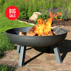 """Sunnydaze 34"""" Fire Pit Cast Iron with Steel Finish Wood-burning Fire Bowl SALE"""