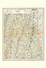 1896 Color Map of NEW HAMPSHIRE and VERMONT