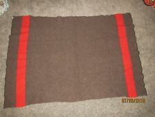Vintage BARON WOOLEN MILLS Wool Blanket - Brown w/ Red Stripe 55 x 75 - Camping