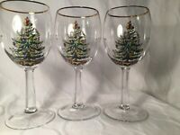 3 Spode Christmas Tree Wine Glasses or Water Goblets EUC
