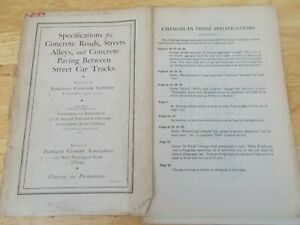 vtg 1917 SPECIFICATIONS FOR CONCRETE ROADS American Institute Portland Cement