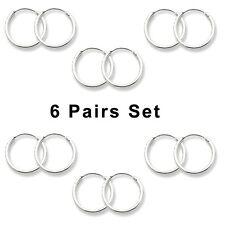 USA Seller 6pairs Set Small Hoop Earrings Sterling Silver 925 Bestseller Jewelry