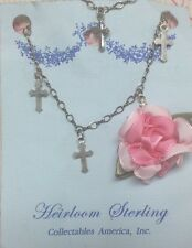 BNWT Sterling Silver Cross Charm Child's Bracelet Heirloom Quality Made In USA