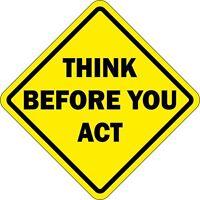 aufkleber sticker auto motorrad helm think before act lustige warnung