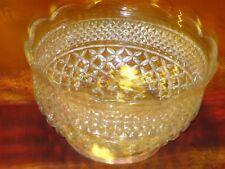 Large Pedestal, Diamond Crystal Glass Scallop Edge Dish / Bowl