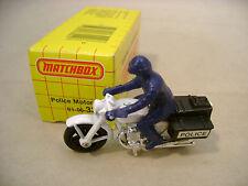 1983 MATCHBOX SUPERFAST #33 POLICE MOTORCYCLE WHITE BIKE W BLACK BAGS MIB