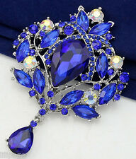 Large Size Blue Crystal Leaf Cluster Dangly Crystal Drop Diamante Brooch Pin