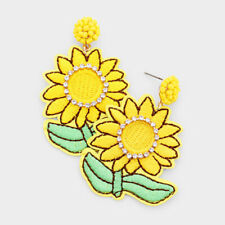 Sunflower Embroidery Drop Earrings Designer Inspired Crystal Pave Trim