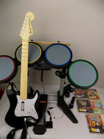 Playstation 3 Ps3 Rock Band Guitar Hero Bundle - Guitar + Drum + 5x Games
