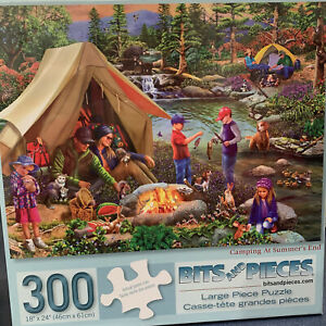 Bits and Pieces Puzzle:Camping At Summer's End 300 Pieces, 18 x 24, New & Sealed