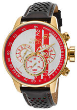Invicta 19906 S1 Rally GMT Chronograph Black Leather White-Red Dial Men's Watch