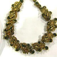 Vintage KRAMER Necklace Green Rhinestone HIGH END Estate Designer Flowers Leaves