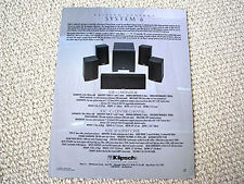 Klipsch Synergy System 6 speaker set brochure